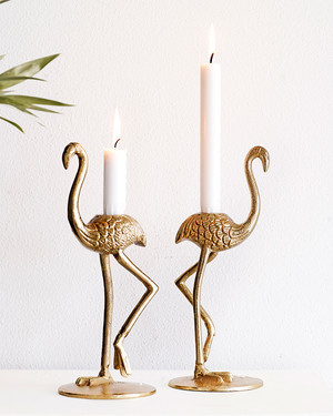 Ljusstake Golden Flamingo