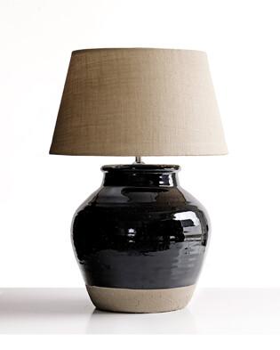 Lampfot Glaze inkl sammetsskärm kitt